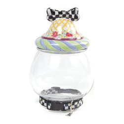 Canine Cookie Jar | MacKenzie-Childs - For tricks, give treats! The domed, dog bone lid crowns a generously sized glass vessel to be filled with your pup's favorite snacks. Embellished with a Courtly Check® collar at the base. Ceramic lid is handcrafted in Aurora.