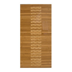 None - Oolong Bamboo Mat (20 x 48) - A high-gloss polyurethane finish brings out the gorgeous,natural tones of this bamboo kitchen mat while protecting it from water. Ideal for your kitchen or bath,this mat features a non-skid rubber backing to prevent slips and falls.