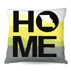 DiaNoche Designs - Pillow Woven Poplin from DiaNoche Designs by Jackie Phillips Home Missouri Yello - Toss this decorative pillow on any bed, sofa or chair, and add personality to your chic and stylish decor. Lay your head against your new art and relax! Made of woven Poly-Poplin.  Includes a cushy supportive pillow insert, zipped inside. Dye Sublimation printing adheres the ink to the material for long life and durability. Double Sided Print, Machine Washable, Product may vary slightly from image.