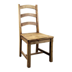 Vivere Pine Dining Chair - Big, Heavy Solid wood construction makes this Rustic design a hit with many decors. This chair is made to last with twice the wood of most rustic pine chairs. Chairs are sold in pairs Only. Price is per chair.