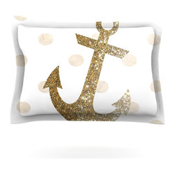 "Kess InHouse - Nika Martinez ""Glitter Anchor"" Gold Sparkles Pillow Sham (Cotton, 30"" x 20"") - Pairing your already chic duvet cover with playful pillow shams is the perfect way to tie your bedroom together. There are endless possibilities to feed your artistic palette with these imaginative pillow shams. It will looks so elegant you won't want ruin the masterpiece you have created when you go to bed. Not only are these pillow shams nice to look at they are also made from a high quality cotton blend. They are so soft that they will elevate your sleep up to level that is beyond Cloud 9. We always print our goods with the highest quality printing process in order to maintain the integrity of the art that you are adeptly displaying. This means that you won't have to worry about your art fading or your sham loosing it's freshness."