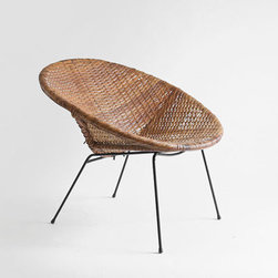 Vintage Mid Century Basket Chair by Hindsvik - Working in vintage items with modern ones helps to keep a design from feeling sterile.