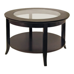 Winsome - Winsome Genoa Round Wood Coffee Table with Glass Top in Dark Espresso - Winsome - Coffee Tables - 92219 - This elegantly designed Winsome Genoa Round Coffee Table with Glass Top and Shelf is an exquisite piece for a home. With a dark espresso finish on solid beech wood and rubberwood this table is durable and stylish. Featuring flared legs and a bottom circular shelf the Genoa Round Coffee Table can be matched with items from the same collection: the round side table and end table.