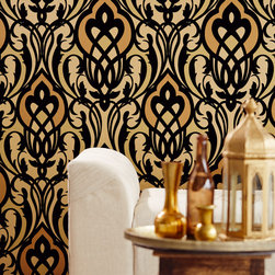 Yasmin - A contemporary wallpaper design in a luxurious palette of black and gold.