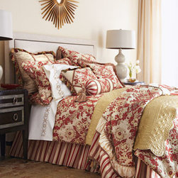 """Austin Horn Classics - Austin Horn Classics Two 84""""L Curtains - Flowers, stripes, and fanciful trims all play a part in the timeless elegance of """"Mount Rouge"""" bed linens from Austin Horn Classics. Made in the USA of polyester/rayon and silk fabrics. Dust skirts have an 18"""" drop. Rod-pocket curtains are lined....."""