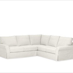"""PB Comfort Roll-Arm 3-Piece L Shaped Sectional Slipcovers, Washed Linen/Cotton I - Designed exclusively for our PB Comfort Sectional, these soft, inviting slipcovers retain their smooth fit and remove easily for cleaning. Left 3-Piece Sectional with Box Cushions shown. Select """"Living Room"""" in our {{link path='http://potterybarn.icovia.com/icovia.aspx' class='popup' width='900' height='700'}}Room Planner{{/link}} to select a configuration that's ideal for your space. This item can also be customized with your choice of over {{link path='pages/popups/fab_leather_popup.html' class='popup' width='720' height='800'}}80 custom fabrics and colors{{/link}}. For details and pricing on custom fabrics, please call us at 1.800.840.3658 or click Live Help. All slipcover fabrics are hand selected for softness, quality and durability. Left-arm configuration is shown; also available in right-arm configuration. {{link path='pages/popups/sectionalsheet.html' class='popup' width='720' height='800'}}Left-arm or right-arm configuration{{/link}} is determined by the location of the arm on the love seat as you face the piece. This is a special-order item and ships directly from the manufacturer. To see fabrics available for Quick Ship and to view our order and return policy, click on the Shipping Info tab above. Watch a video about our exclusive {{link path='/stylehouse/videos/videos/pbq_v36_rel.html?cm_sp=Video_PIP-_-PBQUALITY-_-SUTTER_STREET' class='popup' width='950' height='300'}}North Carolina Furniture Workshop{{/link}}."""
