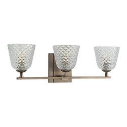 Hudson Valley - 4063-BB Grafton Bath Vanity Light, Brushed Bronze, Diamond Pressed Pattern Glass - Traditional Bath Vanity Light in Brushed Bronze with Diamond Pressed Pattern glass from the Grafton Collection by Hudson Valley.