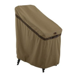 Classic Accessories Hickory Stackable Chair Cover - Tan - Stack and store up to six stackable patio chairs with the Classic Accessories Hickory Stackable Chair Cover - Tan. This cover is handsome, durable, and easy to use. It's made of tan Weather10 material and features Weather Leather trim that looks real yet won't rot. Padded handles make it a breeze to put on and take off. Large air vents are there to keep mildew and wind lofting at bay. For a customized, snug fit, this cover uses a combination of click-close straps and an adjustable elastic hem cord at the bottom. It features a waterproof, laminated liner and is designed to fit a stack of six stackable patio chairs. Comes complete with a manufacturer's limited lifetime warranty.About Classic AccessoriesFounded from small beginnings, Classic Accessories has grown in the past 30 years from a small basement operation in Seattle's Roosevelt neighborhood making seatbelt pads and steering wheel covers, to a successful and expanding company now making a wide variety of products from car to boat covers and much more. Innovative, stylish designs define products that are functional and made to last. From little details to the largest innovations, Classic Accessories is always moving forward and looking to provide cover and storage solutions to a clientele that has a passion for the outdoors, from backyard gatherings to exciting camping trips, Classic Accessories provides the products that keeps your equipment looking great all season long.