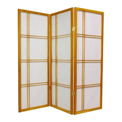 Oriental Unlimited - Double Cross 48 Inch Shoji Screen - DC48-NAT-4P - Shop for Room Dividers from Hayneedle.com! Measuring only 4 feet tall and featuring an attractive Zen-influenced design the Oriental Unlimited Double Cross 48-Inch Shoji Screen is ideal for sheltering a play area or acting as a fireplace screen. The frame is crafted from durable lightweight Scandinavian spruce using Asian-style mortise-and-tenon joinery. The elegant shade is made from strong fiber-reinforced pressed-pulp rice paper which allows diffused light to shine through while providing complete privacy. Lacquered-brass two-way hinges mean you can bend the panels in either direction for versatility. Select from six fine wood finishes and 3- 4- 5- or 6-panel options. Each panel measures 17.5L x 0.75W x 48H inches.Sizes3 Panel - (Approximate) Overall Size Dimensions: 54.5W x .75D x 48H inches4 Panel - (Approximate) Overall Size Dimensions: 73W x .75D x 48H inches5 Panel - (Approximate) Overall Size Dimensions: 91.5W x .75D x 48H inches6 Panel - (Approximate) Overall Size Dimensions: 110W x .75D x 48H inchesIndividual panels are approximately 17.5 inches wide and 48 inches tall.About Oriental FurnitureWhat began in 1985 as a simple retail store in Natick Mass. has now blossomed into Oriental Furniture one of the largest online retailers of Asian furniture gifts and accessories. The company is always combing the globe for beautiful quality products and imports items directly from other countries in order to reduce costs for customers. With a wide variety of products available Oriental Furniture offers distinctive design solutions for the style-minded home decorator.