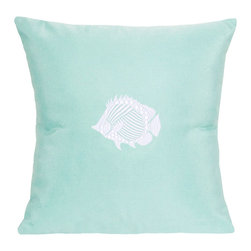 """Nantucket Bound, Inc. - Sunbrella Tropical Fish Pillow by Nantucket Bound, Glacier Blue - Nantucket Bound's indoor/outdoor pillow measures 18"""" square and features and embroidered anchor design. Fabric is fade and weather-resistant Sunbrella, making it ideal for bedroom to family room and patio to poolside! Cover removes for machine washing. Insert included.  Available in 5 coordinating colors."""