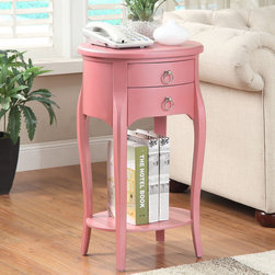 None - Ashton Pink Single-drawer Side Table - Display decorations or store personal items with this pretty pink Ashton side table,decorated with elegant curved legs. Made of solid wood and MDF,this charming table features a lower display shelf as well as a single drawer for discreet storage.