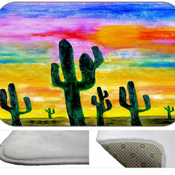 Desert Sunset Plush Bath Mat, 20X15 - Bath mats from my original art and designs. Super soft plush fabric with a non skid backing. Eco friendly water base dyes that will not fade or alter the texture of the fabric. Washable 100 % polyester and mold resistant. Great for the bath room or anywhere in the home. At 1/2 inch thick our mats are softer and more plush than the typical comfort mats.Your toes will love you.