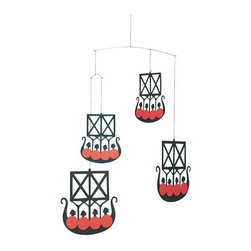 Flensted Mobiles - The 4 Viking Ships Mobile - Set sail on a new course with these Viking ships. Carved from teak, they add a undeniable sense of adventure wherever they hang. Even the faintest breeze will set the fleet in motion.
