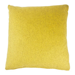 Designer Fluff - Yellow Canyon Pillow, 20x20 - Yellow is tempered with a touch of gray in this cozy throw pillow crafted from a blend of wool and nylon. A concealed zipper keeps the feather/down insert discreetly in place, so nothing detracts from the fabric's radiantly sunny aura.