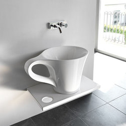 ArtCeram - ArtCeram | One Shot Cup Countertop Washbasin - Made in Italy by Art Ceram.A part of the One Shot Collection. Just as the name suggests, the One Shot Cup Countertop Washbasin draws its inspiration from commonly used kitchen glassware. The unique shape of this coffee-cup-inspired bathroom sink will add an instant focal point in luxury bathrooms. Pairs with a wall-hung or even floor-mounted modern faucet to complete modern bath spaces. Product Features: