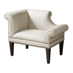 Uttermost - Fontaine White Linen Armchair - You might not want to plop down on this elegant left side facing armchair, but gracefully lower yourself onto it's pristine tailored seat covered in a parchment linen/ cotton blend. Sip tea, converse or just enjoy the majesty of this elegant Regency period piece.