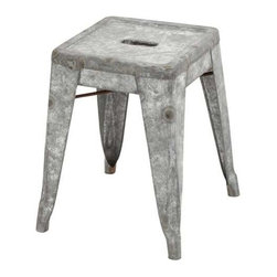 BZBZ49109 - Classic Metal Galvanized Counter Stool (Small) - Classic Metal Galvanized Counter Stool (Small). Add an exceptional touch of antiquity to your living space with this functional creation of smart and sturdy stool.