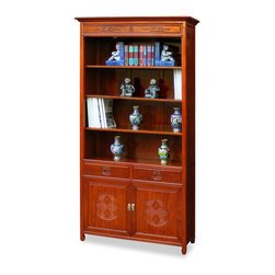 China Furniture and Arts - Rosewood Longevity Design Bookcase - This Ming design bookcase is handcrafted of solid rosewood. It has three shelves to display your favorite books or to show your treasured collectibles. The bottom cabinet and drawers with longevity emblem provides a convenient access for extra storage. Hand applied natural finish allows the beauty of rosewood grain to shine through and will bring cheerfulness to your home. (Display accessories not included.)