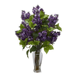 """Lilac Silk Flower Arrangement - Lilacs are amongst the most colorful of flowers, and we've captured that perfectly with this """"nearly natural"""" re-creation of lilacs in full bloom. Yes, you won't be able to smell them, but they look so perfectly real, with delicate, colorful petals adorning stout branches with green leaves, that you won't mind one bit. This colorful collection is gathered in a glass vase with liquid illusion, making it the perfect adornment for a table, counter, or desk. Height= 24 in x Width= 18 in x Depth= 18 in"""