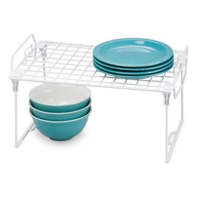 Set Of 2 - Kitchen Organizer Rack- 16X10In - Honey-Can-Do KCHZ01869 Set of 2 Lock and Link Stackable Cabinet Shelf, White.  The slim, space-saving design is great for creating extra storage space in cabinets, pantries, or closets.  Made with a durable steel frame and PE coating, it's sturdy, easy to clean, and will last for years.