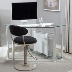 RTA Home and Office - Clear Glass Corner Computer Desk Multicolor - CT-013 - Shop for Desks from Hayneedle.com! Make the most out of every square inch of a small home office with the RTA Home and Office Corner Glass Computer Desk. The space-saving corner design maximizes your desktop work area but the whole desk only takes up 40 inches of wall space. This simple desk has a bottom shelf that could hold a CPU or a printer if you are using a laptop. Made of thick clear tempered glass shelves supported by round aluminum tubes this modern desk will preserve the sense of openness in your room so it won't feel cramped. This desk is easy to assemble and backed by a one-year limited warranty.About RTA Home and OfficeIf you've decided to outfit your home or office with sleek modern style look no further than the RTA Home and Office product line. Based in Springfield Missouri RTA Home and Office Inc. was founded in 2001 and specializes in the manufacturing and distribution of high-quality tempered glass and polished aluminum TV stands desks and tables. All of the tempered glass shelves table tops and desk tops have smooth rounded edges for safety. Incredibly strong and durable these strikingly contemporary pieces will add high-tech style and design to a variety of home settings.