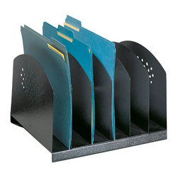 """Safco - Steel Desk Rack 6 Upright Sections - Black - Sturdy steel is a smart solution! All steel organizing accessories are extra sturdy and useful. Steel Desk Racks help increase efficiency by neatly storing and organizing the file folders and paperwork cluttering up most work areas. Three styles in a variety of sizes provide the flexibility to choose the right organization for the job. Decorative contemporary design on end and front panels works well with any decor. Rubber feet protect work surfaces.; Features: Material: Steel; Color: Black; Finished Product Weight: 6 lbs.; Assembly Required: No; Limited Lifetime Warranty; Dimensions: 12 1/4""""W x 11 1/4""""D x 8""""H"""
