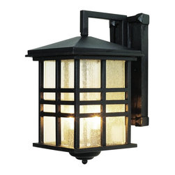 Joshua Marshal - Two Light Black Clear Seeded Rectangle Glass Wall Lantern - Two Light Black Clear Seeded Rectangle Glass Wall Lantern