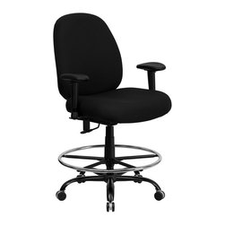 Flash Furniture - Flash Furniture Hercules Fabric Drafting Stool with Arms in Black - Flash Furniture - Drafting Chairs - WL715MGBKADGG - This drafting chair has been tested to hold up to 400 lbs.! Not only will this chair hold the above average person but it is amazingly comfortable. Chair will appeal for users of all heights and weights because of its comfort and sturdy construction.