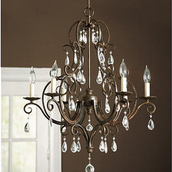 """Ballard Designs - Waldorf 6-Arm Chandelier - Elegantly refined, our Waldorf Chandelier is hand crafted of gracefully scrolled steel with six ruffled candlestick arms and sparkling cut-glass crystal accents. A faceted crystal ball drop in the center adds the finishing touch. Hand applied mocha bronze finish. Includes 5' hanging chain and 5"""" ceiling canopy. Hardwire only. Shades sold separately."""