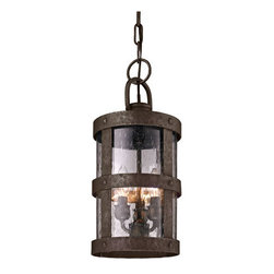 Troy - Bronze Barbosa One-Light Outdoor Hanger Pendant - - Barbosa 1 Light Ceiling Mount Post Mount Lantern. Barbosa Bronze with Clear Seeded Glass. Made From Hand-Forged Iron. Troy - FF3317