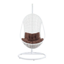 "LexMod - Bestow Swing Outdoor Patio Lounge Chair in White Brown - Bestow Swing Outdoor Patio Lounge Chair in White Brown - Establish your space with the Bestow Outdoor Swing Chair. Sink into the plush all-weather white cushion as you evince both goodness and patience. Allow your ideas to leap outward as you bequeath eminence from an elevated state. Set Includes: One - Bestow Rattan Outdoor Wicker Patio Swing Chair One - Bestow Swing Chair Stand Steel outdoor stand with a white finish, Durable powder-coated surface, All-weather synthetic woven rattan base, Water resistant fabric cushions, Easy Assembly Required Overall Product Dimensions: 39""L x 39""W x 77""Hbrasket Dimensions: 28""L x 34""W x 51""H Stand Dimensions: 39""L x 39""W x 77""H Seat Height: 20.5""H - Mid Century Modern Furniture."