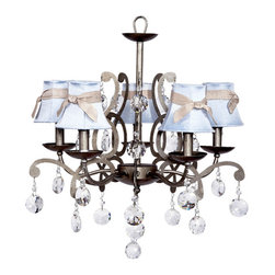 Elegance Chandelier w/Blue shades & Pewter sashes. - Perfect for baby's nursery this Beautiful Pewter 5 light Elegance Chandelier features Blue shades with Pewter sashes.