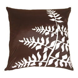 Pillow Decor - Pillow Decor - Brown with White Bold Fern Throw Pillow - Bold, graphic and contemporary botanical print of ferns on a smooth, shimmery fabric. The dramatic fern design pops out in contrast. Coordinates easily with the other patterns in the series. Pair up the color with its reverse print for a stunning effect.