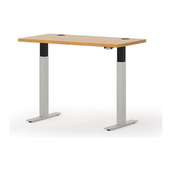 Hon - Systems Wide Rectangle Height Adjustable Table - Does typical office furniture push your buttons? Well, you can push them back with this motorized table. With an internal motor, it goes from sitting to standing height for ultimate versatility. It's available in two widths and features grommets for wire and cable control.