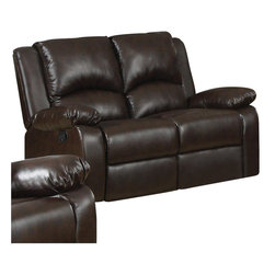 Coaster - Coaster Boston Double Reclining Faux Leather Love Seat in Brown - Coaster - Loveseats - 600972 - Create a comfortable and casual living room with this double reclining loveseat. Sit back and enjoy a movie or TV show on this plush piece with a high supportive back and pad over chaise seat. Pillow arms complete this casual contemporary loveseat.