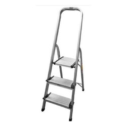 "Coleman Living - CL 3 Step Aluminum Ladder - CL 3-Step Aluminum Ladder with wide steps. Silver  Lightweight and durable frame  Holds up to 225 pounds  High rail for safety and comfort  Folds flat for convenient storage  Non-skid rubber feet prevent slipping  Extra wide top step for greater stability  Safety latch securely holds ladder in open position  16.7"" L x 25.4"" W x 49.2"" H  8 lbs.  This item cannot be shipped to APO/FPO addresses. Please accept our apologies."
