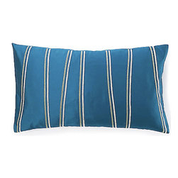 Jiti - Small Diagonal Blue Pillow - Our Diagonal Blue Pillow. Made from 100% Cotton. Invisible Zipper. DRY CLEAN ONLY. Insert is made of 95% feathers and 5% down.