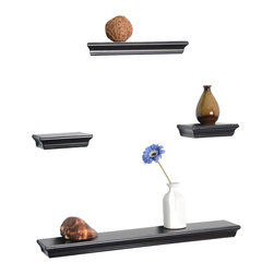 Welland - Floating 4-Piece Wall Shelf Set - Sleek and lightweight, two shelves give you lots of options for displaying your favorite baubles. Create an homage to coffee using the smalls for sugars and spoons, the medium for jarred beans and your French press — and the big daddy for your collection of prized mugs. It's ok too separate them too — they promise not to hold it against you.