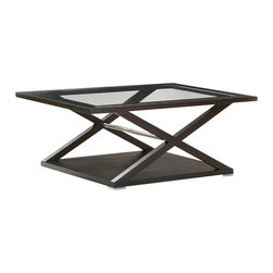 Allan Copley Designs - Allan Copley Designs Halifax Rectangular Glass Top Cocktail Table in Espresso - The Halifax Collection by Allan Copley designs presents a view into refined sophistication. Brilliant design provides an aesthetic masterpiece for your home's decor by bringing all the elements together. Deep Espresso on ash finish with Brushed stainless steel accents creates a balanced, refined look. The Halifax Collection includes Rectangular Cocktail, Oval End, Console Table, Round Dining Table, Serving Cart and Buffet.