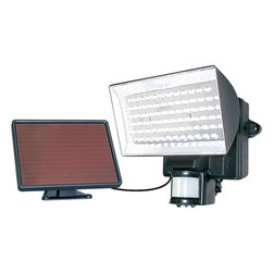 Maxsa Innovations - Solar Security Floodlight 80 LEDs - Motion-Activated 80 LED Security Floodlight is Perfect for entryways, walkways, sheds, patios, balconies, decks, steps, garages, driveways, carports, and backyard and farm sheds. Also great for RVs and other areas where electricity is not available. 80 super bright LED lights provide maximum illumination and efficiency.  Light automatically turns on when motion is detected at night for security, safety, and convenience.  Easy DIY installation. No wiring. No electrician needed.  Includes 6V 4Ah sealed lead acid rechargeable battery.  Adjustable motion sensor detects motion up to 35 feet away within a 180 degree detection area.  15 foot cable allows ideal location for solar panel and lets you mount the light inside, if desired.  Uses free energy from the sun.  Time, motion sensitivity, and LUx (daylight sensitivity) adjustments.  Light can activate up to 150 times when on for 1 minute at a time.  Durable weatherproof housing.  Black finish.