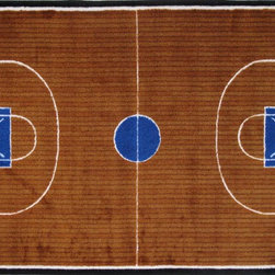 LA Rug Inc - Basketball Court - Your child's room is a natural extension of them. Add these innovative designs from Fun Rugs as a finishing touch to spruce up your child's decor.  Offering a vivid and eye appealing array of colors that will stimulate the mind and imagination of children of all ages.  You will be able to count the compliments of this high quality rug.  Spot clean using mild soap and cold water, not machine washable.