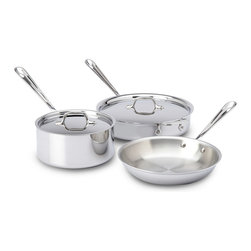 "All-Clad Stainless Steel 5 Piece Cookware Set - The All-Clad Stainless Steel 5-Piece Cookware Set provides the pieces essential for day-to-day cooking. For browning and searing a range of foods  use the fry pan or saute pan. The small surface area and high  straight sides of the saucepans are ideal for making sauces  boiling  or reheating.  The three-ply construction is both durable and stick resistant  and the aluminum core ensures rapid and even heating.  Set includes      10"" fry pan   3 qt. saucepan   3 qt. saute pan   2 lids     Product Features      5-piece stainless steel set with polished finish   Aluminum core and three-ply construction for durability   Stick-resistant 18/10 stainless steel interior   Rapid  even heating on any cooking surface  including induction   Safe for dishwasher  oven  and broiler"