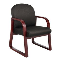 BossChair - Boss Mahogany Frame Side Chair in Black Fabric - Wood reception chair. Mahogany wood finish. Molded wood frame with extra thick seat and back cushions. Available in 4 standard fabric colors: Black, blue, burgundy, grey.