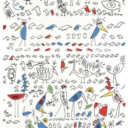 """Aviary Wallpaper, Multi on White - A reproduction of artist Saul Steinberg's wallcovering for Decorators Walk in the 1950s, """"Aviary"""" is filled with fancy, colorful birds that would add character and charm to any space."""