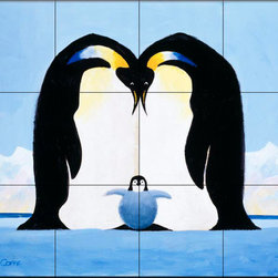 The Tile Mural Store (USA) - Tile Mural - Emperor Penguins Iv - Kitchen Backsplash Ideas - This beautiful artwork by Toni Goffe has been digitally reproduced for tiles and depicts a Penguin and baby.  Images of waterfowl on tiles are great to use as a part of your kitchen backsplash tile project or your tub and shower surround bathroom tile project. Pictures of egrets on tile, images of herons on tile and decorative tiles with ducks and geese make a great kitchen backsplash idea and are excellent to use in the bathroom too for your shower tile project. Consider a tile mural of water fowl for any room in your home where you want to add interesting wall tile.