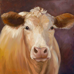 Oil Paintings by Cheri - Cow Print, Constanze, Blond Cow, Canvas Giclee Print - 24x24 Stretched Canvas Giclee Print