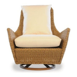 Lloyd Flanders Tobago All-Weather Wicker Hi-Back Swivel Lounge Chair - Feel like the CEO of your backyard with the Lloyd Flanders Tobago All-Weather Wicker Hi-Back Swivel Lounge Chair, which features a heavy-duty swiveling hinge on the wide base that allows you to spin around and soak up a panoramic view of the outdoors. The high back of the chair, which is constructed in a durable, all-weather wicker, allows you to lean back and relax in total comfort. Low armrests are built for maximum stretching out, while short Resysta stained teak legs position the chair close to the ground, allowing you to sit kick out your feet and relieve some stress. The deep Comfort Plush cushions that the seat and back of the chair are available in a wide variety of Sunbrella fabric colors and patterns.Sink back into the Comfort Plush cushion that lends its support through an internal spring bond premium core with dense foam and special polyester fiber that ensure total relaxation. Wrapped around this high-quality core is a polypropylene jacket of spun-bond fabric that sandwiches a hydrophobic inner meltblown-fabric layer - an absolute must for any outdoor furniture. And to guarantee that they fit with your tastes and decor, they come in a wide variety of colors and patterns that you're sure to love. The Caribbean-themed Tobago collection is marked by its clean, fluid lines that will add tropical spice to any backyard. About Lloyd/FlandersCarrying on the traditions of Marshall B. Lloyd, Lloyd/Flanders brings the sophistication of timeless furniture designs to a sophisticated, modern audience. Using modern production processes and materials, these classic styles are faithfully rendered in a way that can be enjoyed by customers anywhere with high-quality construction and reliable, all-weather designs.