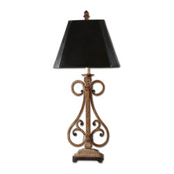 Uttermost - Trenton Iron Table Lamp - This Iron Lamp Is Finished In A Warm Tan Crackle, And Hand-rubbed To Show Its Dark Base Coat. The Rectangular Shade Is Black Crackle With Clipped Corners. Number Of Lights: 1, Shade: Rectangle Bell Clip Corner Shade, Shade Size: Height: 12, Top: 6w X 9d, Bottom: 11w X 16d, Voltage: 110, Wattage: 100w, Bulbs Included: No