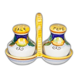 Ceramic - Daphne Salt and Pepper Set with Tray - Daphne Salt & Pepper Set with Tray