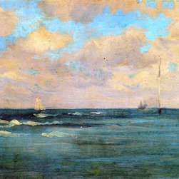 """James McNeill Whistler Bathing Posts - 16"""" x 24"""" Premium Archival Print - 16"""" x 24"""" James McNeill Whistler Bathing Posts premium archival print reproduced to meet museum quality standards. Our museum quality archival prints are produced using high-precision print technology for a more accurate reproduction printed on high quality, heavyweight matte presentation paper with fade-resistant, archival inks. Our progressive business model allows us to offer works of art to you at the best wholesale pricing, significantly less than art gallery prices, affordable to all. This line of artwork is produced with extra white border space (if you choose to have it framed, for your framer to work with to frame properly or utilize a larger mat and/or frame).  We present a comprehensive collection of exceptional art reproductions byJames McNeill Whistler."""